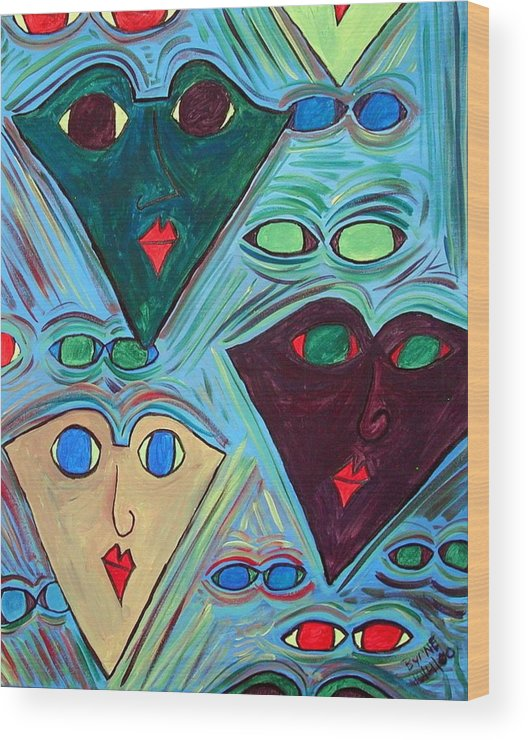 Wood Print featuring the painting Many Faces Blue by Margie Byrne