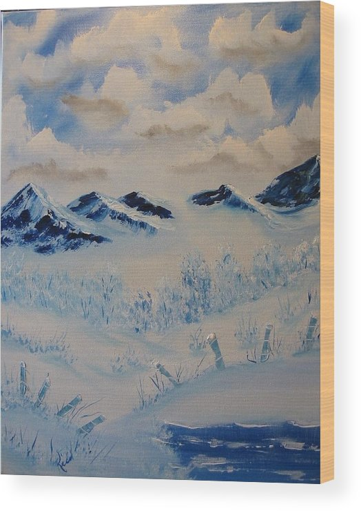 Blue Wood Print featuring the painting Many Valleys by Laurie Kidd