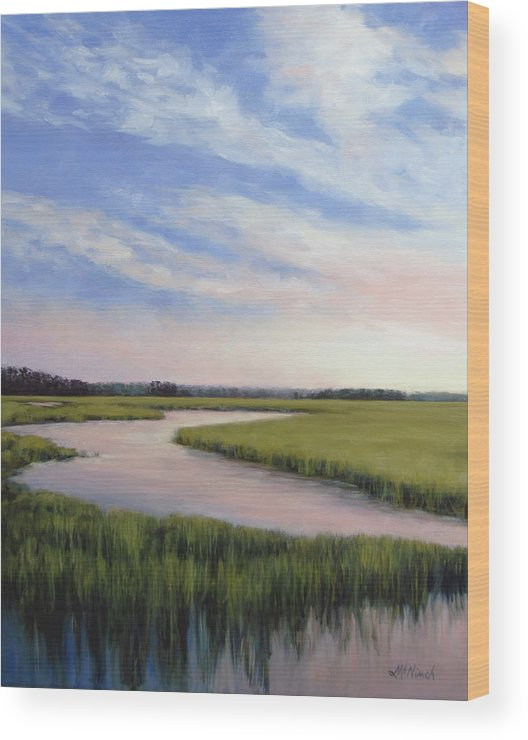Marsh Wood Print featuring the painting Marsh Blush by Michel McNinch