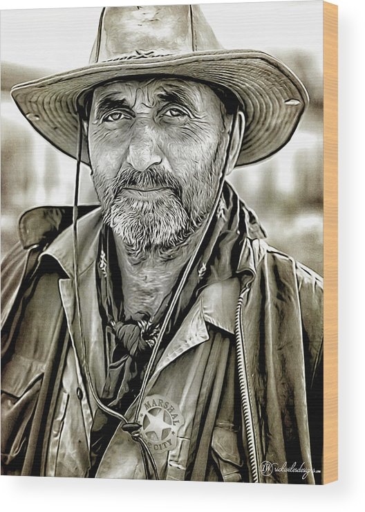 Man Wood Print featuring the digital art Marshal Pike by Rick Wiles