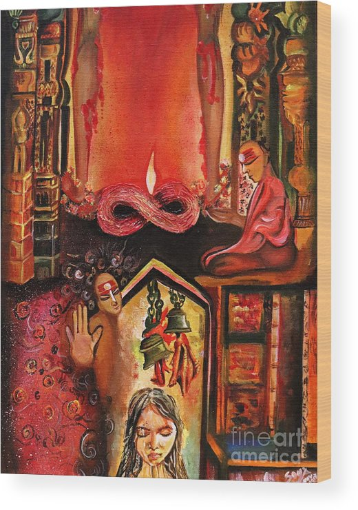 Acrylic Oil Painting Wood Print featuring the painting Menstuartion by Richa Anand