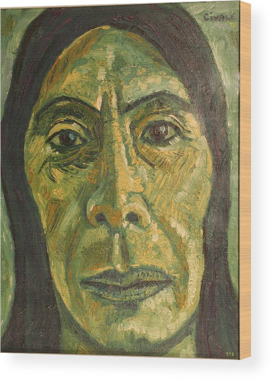 Wood Print featuring the painting Mexican Woman by Biagio Civale