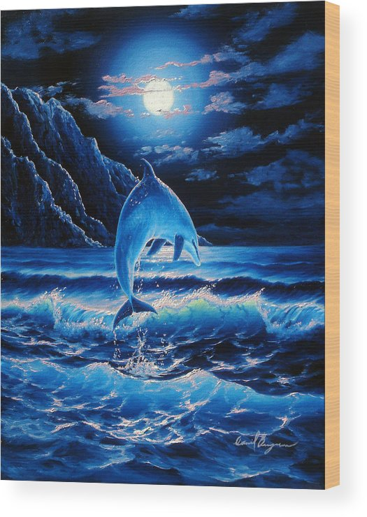 Dolphin Wood Print featuring the painting Midnight Play by Daniel Bergren