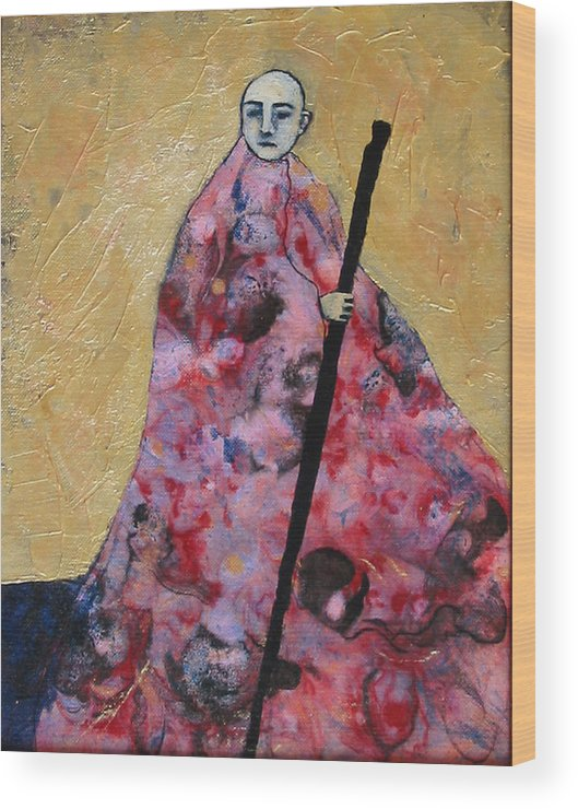 Gold Wood Print featuring the painting Monk With Walking Stick by Pauline Lim