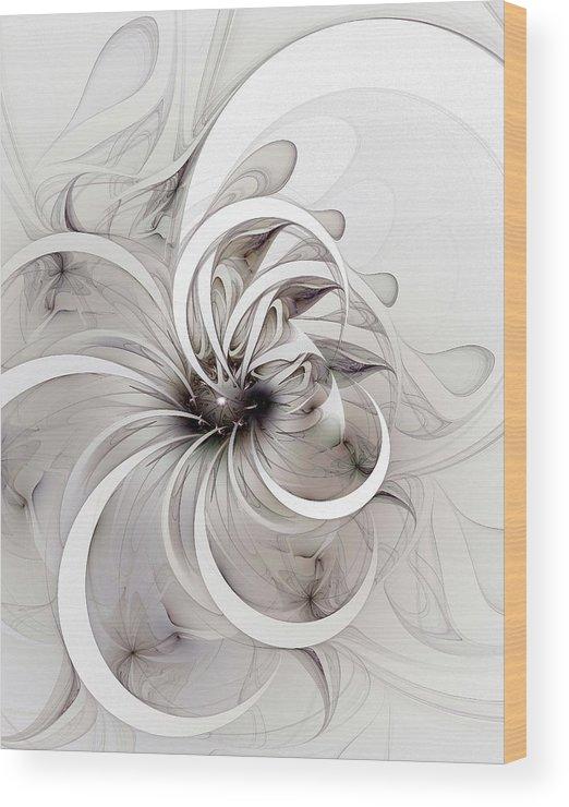 Digital Art Wood Print featuring the digital art Monochrome Flower by Amanda Moore