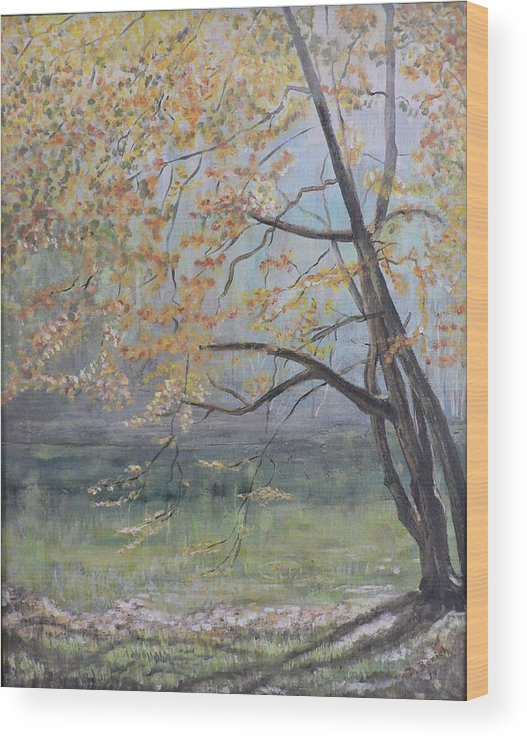 Trees In The Fall Wood Print featuring the painting Morning Solitude by Dan Bozich
