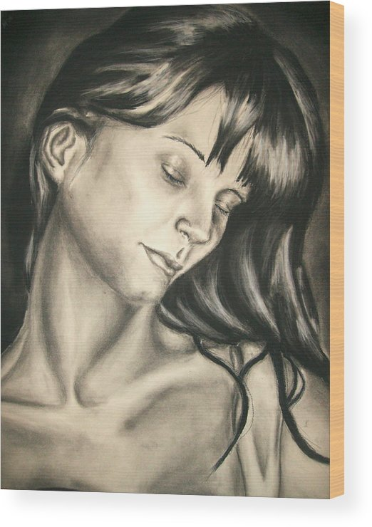 Woman Wood Print featuring the drawing Natural Beauty by Ashley Warbritton