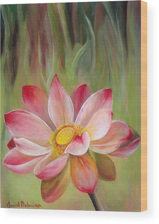 Flower Wood Print featuring the painting Nenuphar by Muriel Dolemieux
