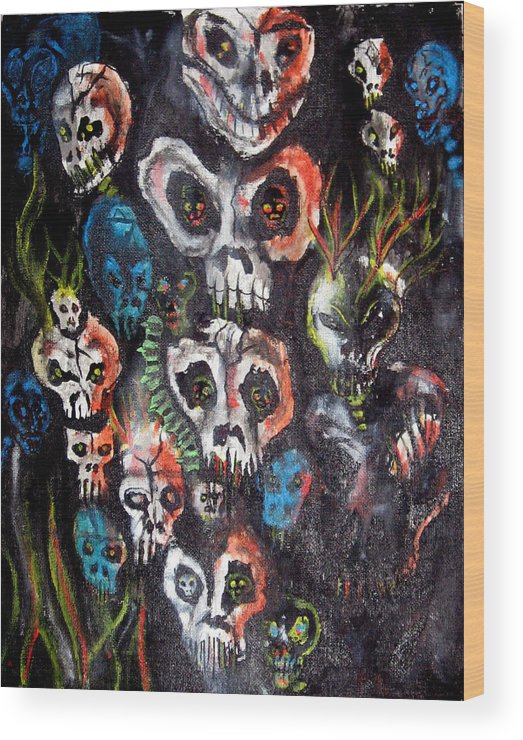 Dark Wood Print featuring the painting New Dark by Leigh Odom
