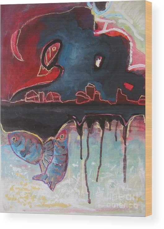 Abstract Paintings Wood Print featuring the painting Nipper by Seon-Jeong Kim