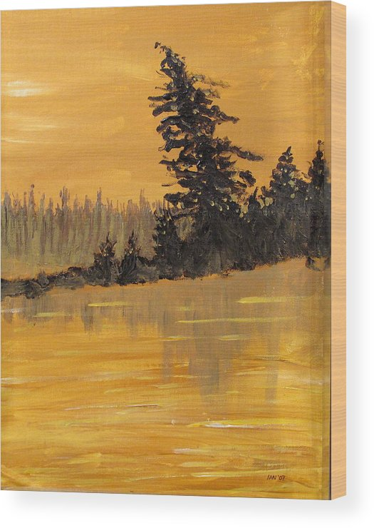 Northern Ontario Wood Print featuring the painting Northern Ontario Three by Ian MacDonald