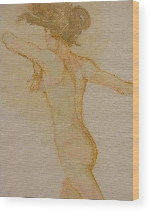 Female Wood Print featuring the painting Nude Dancer by Gary Kaemmer