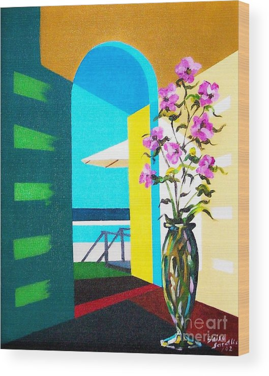 Still Life Wood Print featuring the painting Ocean View by Sinisa Saratlic