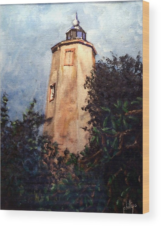 Lighthouse Wood Print featuring the painting Old Baldy by Jim Phillips
