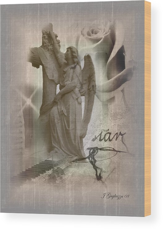 Angel Wood Print featuring the digital art Only Memories by Jean Gugliuzza