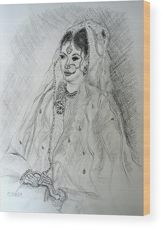 Pakistani Wood Print featuring the drawing Pakistani Bride by Caroline Urbania Naeem