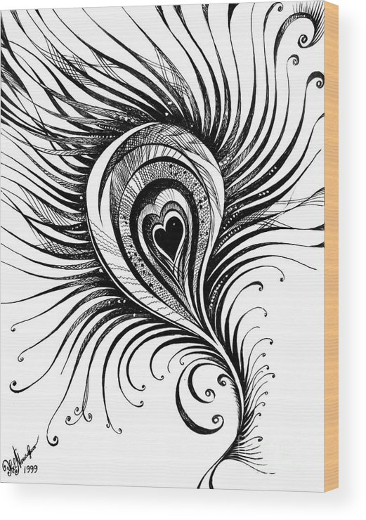 Peacock Feather  Black-white Drawing Wood Print