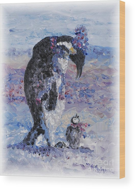 Penguins Winter Snow Blue Purple White Wood Print featuring the painting Penguin Love by Nadine Rippelmeyer