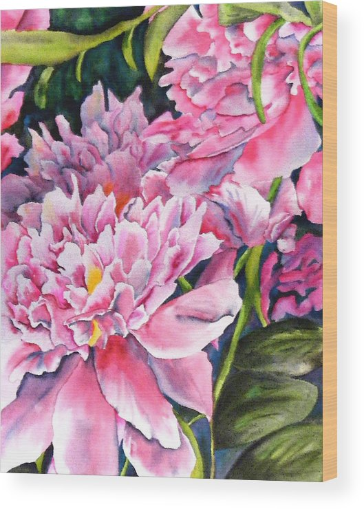 Peony Wood Print featuring the painting Peony In Pink by Diane Ziemski