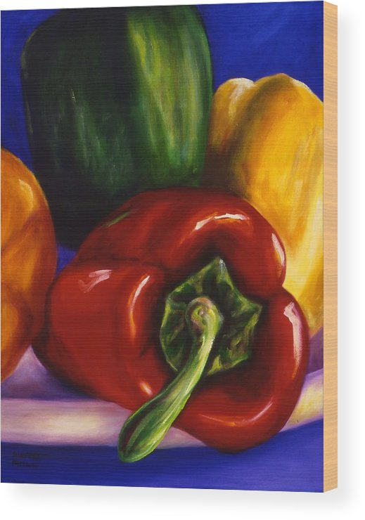 Still Life Wood Print featuring the painting Peppers On Peppers by Shannon Grissom