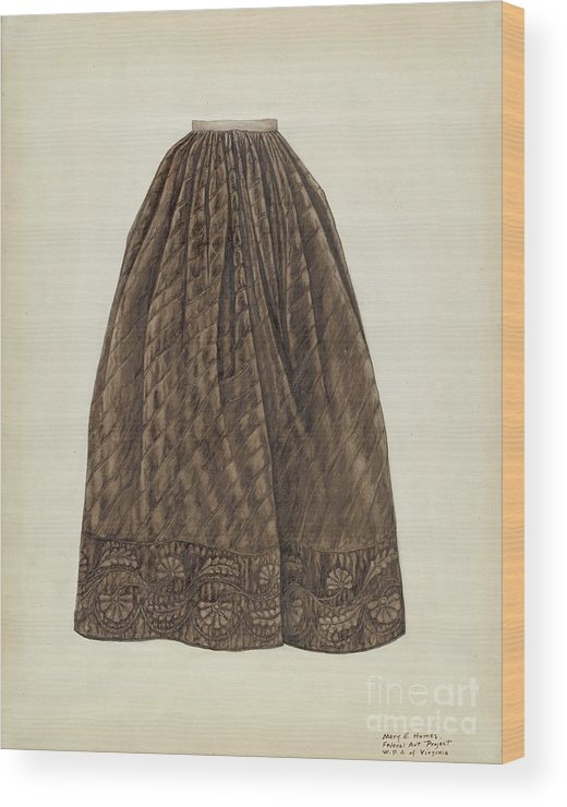 Wood Print featuring the drawing Petticoat by Mary E. Humes