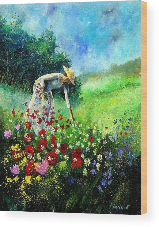 Poppies Wood Print featuring the painting Picking Flower by Pol Ledent