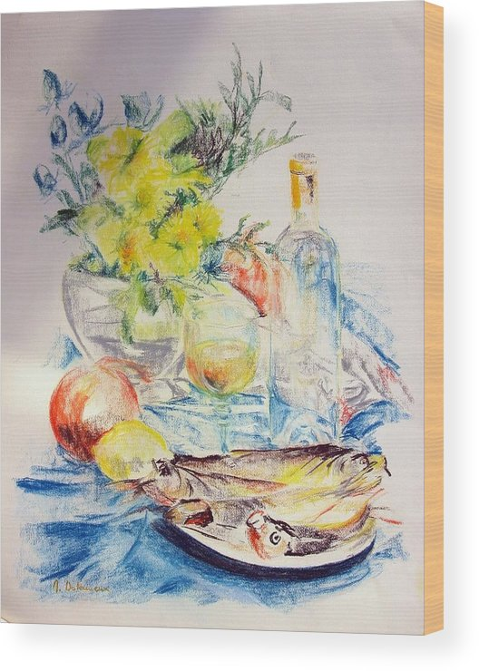 Still Life Wood Print featuring the drawing Poissons by Muriel Dolemieux