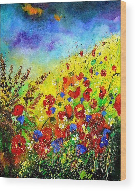 Poppies Wood Print featuring the print Poppies And Blue Bells by Pol Ledent