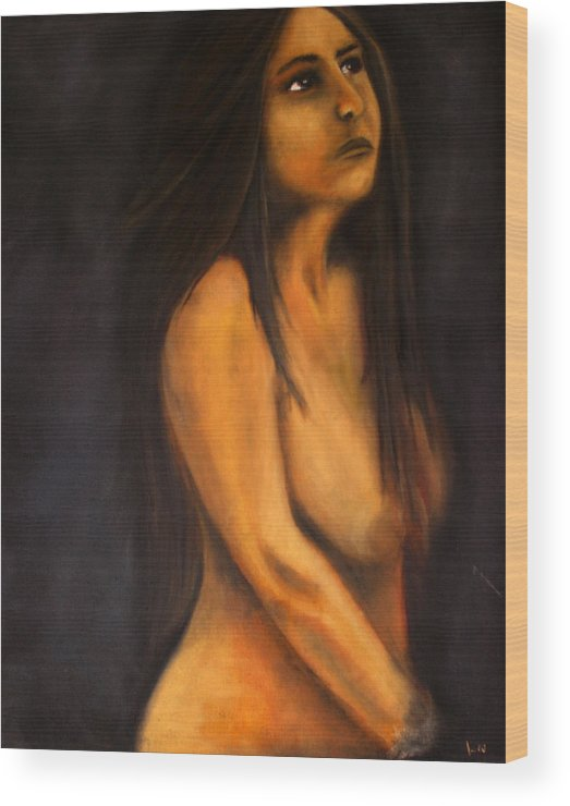 Oil Wood Print featuring the painting Portrait In Oil by Lou Ewers