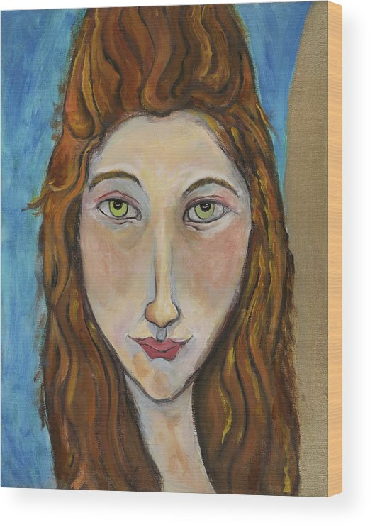 Portrait Wood Print featuring the painting Portrait Of A Girl by Michelle Spiziri