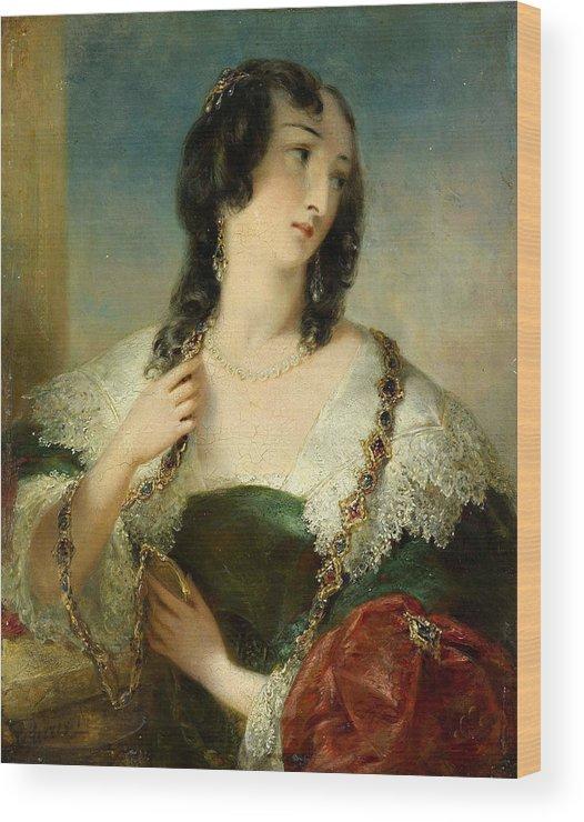 Edmund Thomas Parris Wood Print featuring the painting Portrait Of A Young Woman by Edmund Thomas Parris