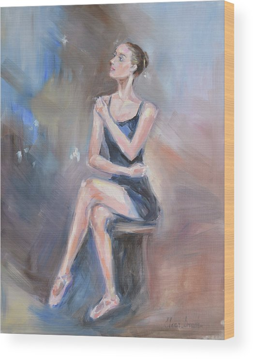 Ballet Dancer Wood Print featuring the painting Prelude by Elena Broach