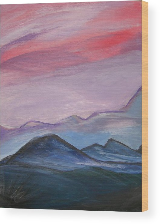 Mountain Wood Print featuring the painting Purple Sky by Liz Vernand
