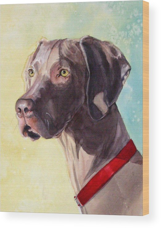 Canine Wood Print featuring the painting Quelly by Gina Hall