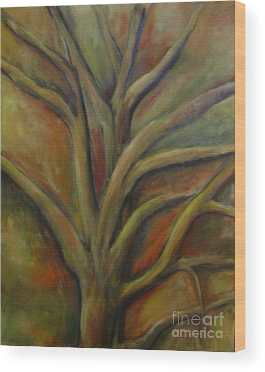 Tree Abstract Painting Expressionist Original Leila Atkinson Wood Print featuring the painting Rapt by Leila Atkinson