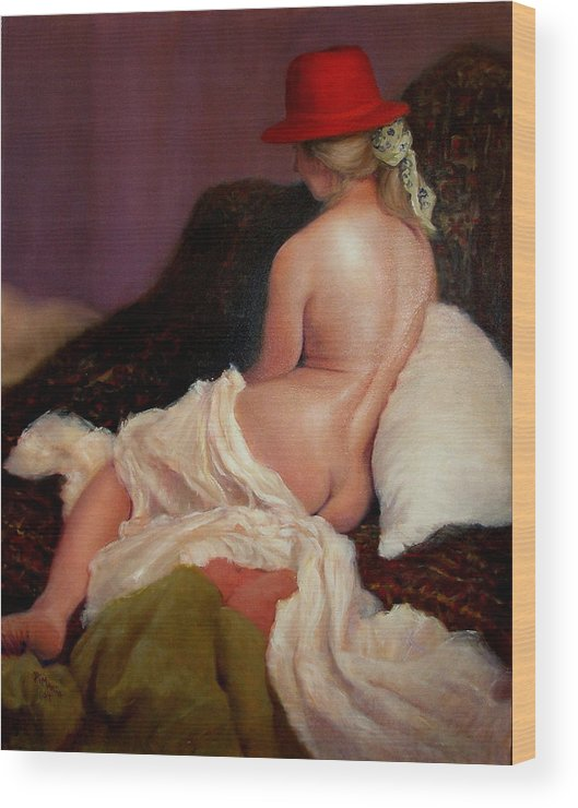 Realism Wood Print featuring the painting Red Hat 5 by Donelli DiMaria