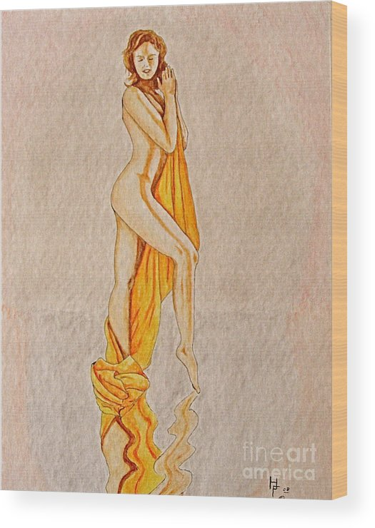 Nude Wood Print featuring the painting Reflection by Herschel Fall