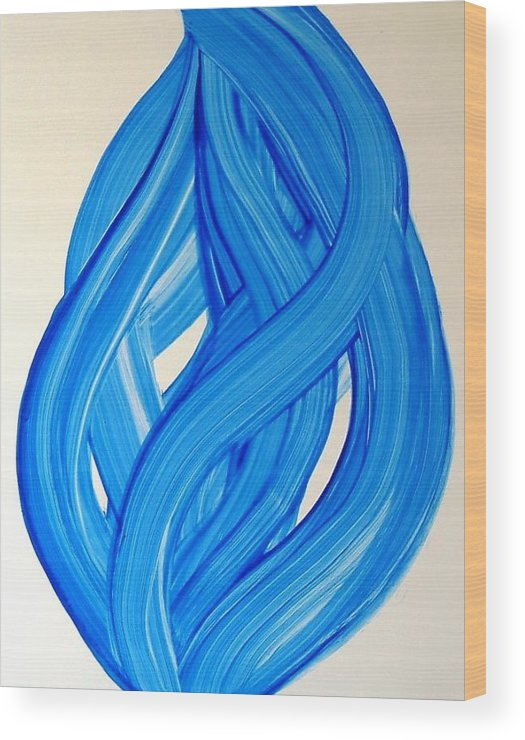 Abstract Modern Contemporary Yupo Art Painting Romantic Pop Blue Wood Print featuring the painting Ribbons Of Love-blue by Manjiri Kanvinde