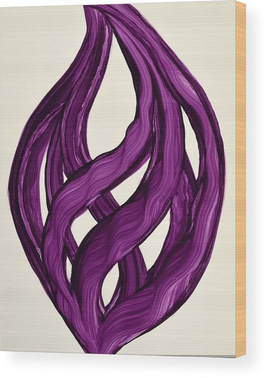 Abstract Art Yupo Comtemporary Modern Pop Romantic Vibrant Wood Print featuring the painting Ribbons Of Love-violet by Manjiri Kanvinde