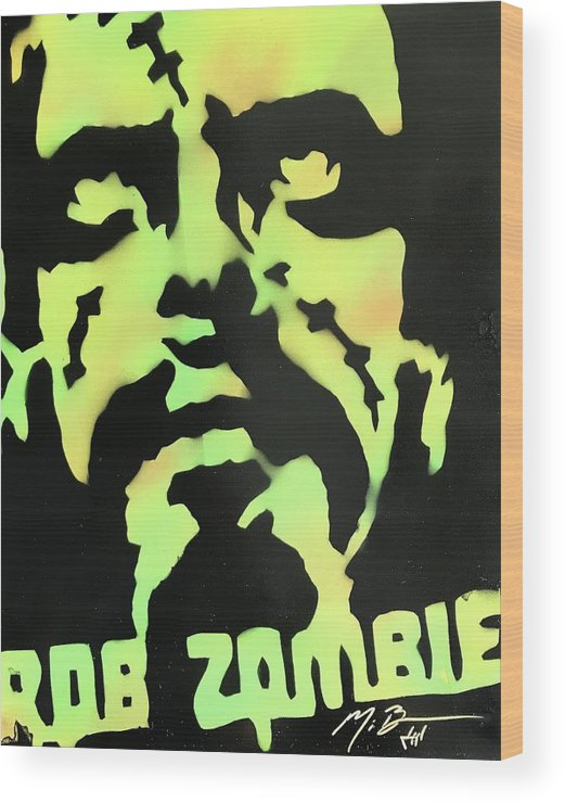 Rob Zombie Wood Print featuring the painting Zombie by Michael Bergman
