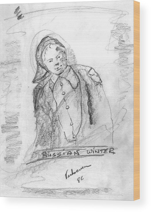 Person Signafying Season Wood Print featuring the drawing Russian Winter by Alfred P Verhoeven