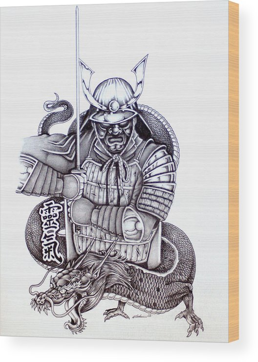 Pencil Wood Print featuring the drawing Samurai Tattoo Design 1 by Kyle Adamache