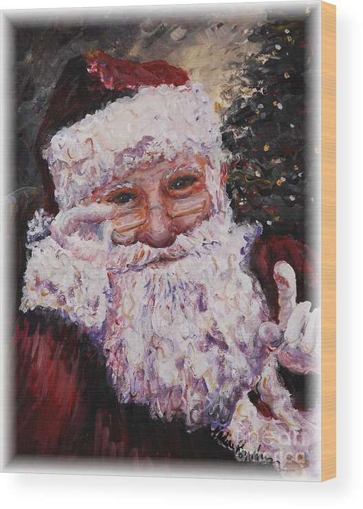 Santa Wood Print featuring the painting Santa Chat by Nadine Rippelmeyer
