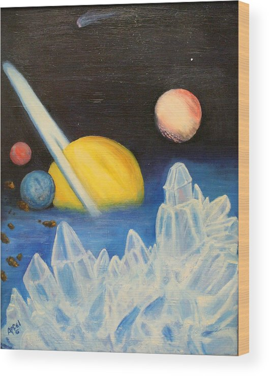 Planets.ice Wood Print featuring the painting Saturn by Gloria M Apfel