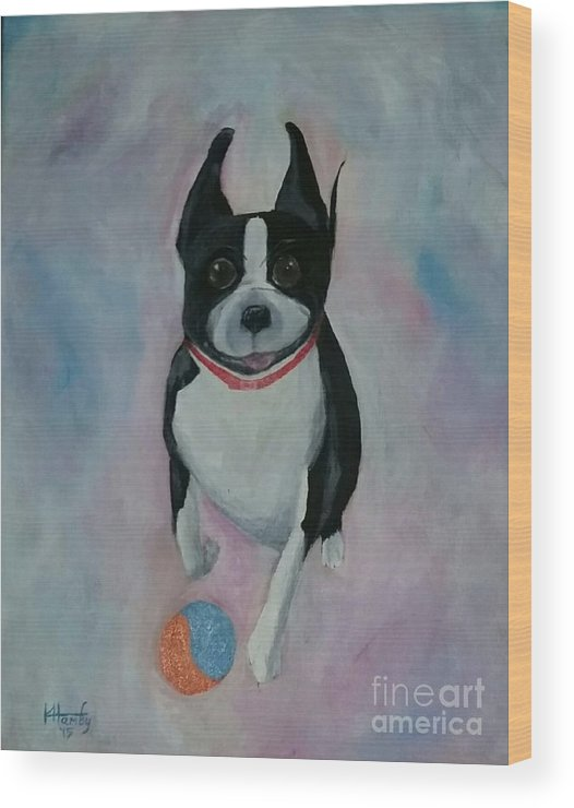 Boston Terrier Wood Print featuring the painting Scooter by Karen Hamby
