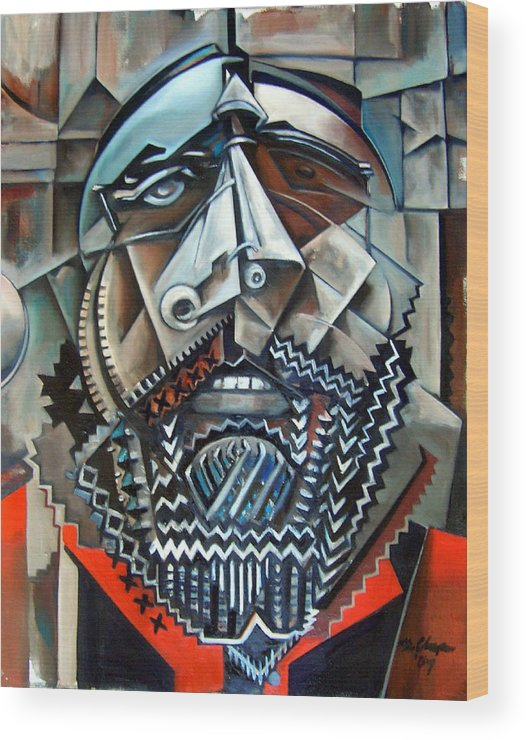 Sean Paint Poole Cubism Portrait Wood Print featuring the painting Sean Poole by Martel Chapman