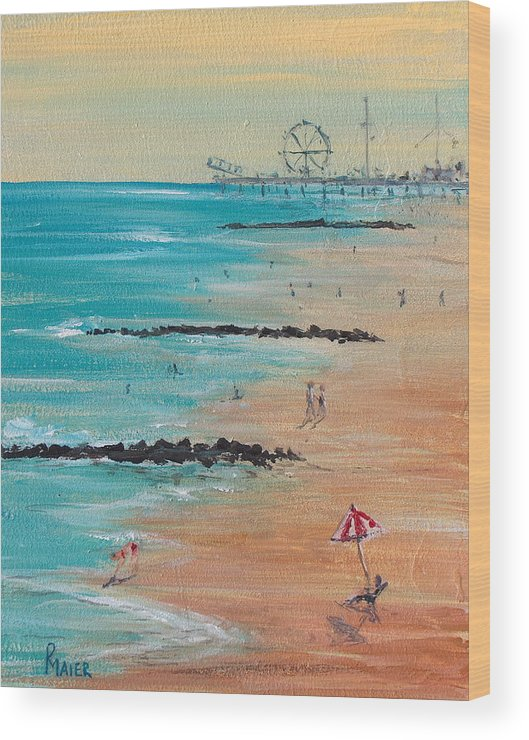 Beach Wood Print featuring the painting Seaside by Pete Maier