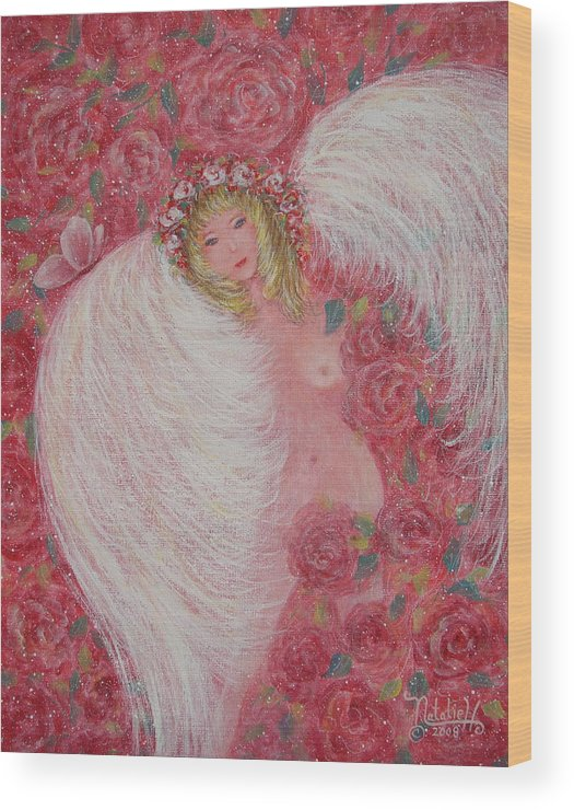 Angel Wood Print featuring the painting Secret Garden Angel 6 by Natalie Holland