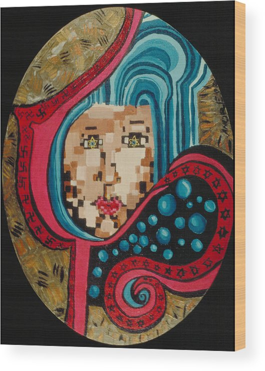 Jandrel Wood Print featuring the painting Self Portrait by J Andrel