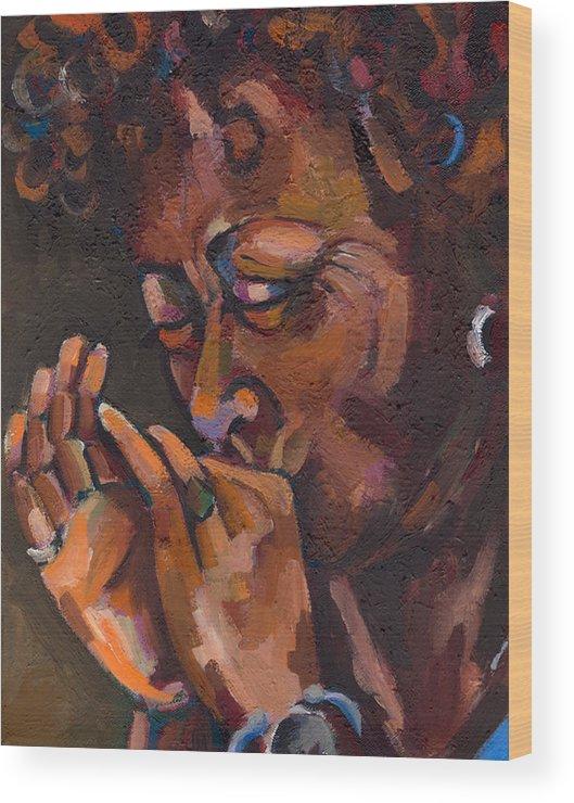 Portrait Wood Print featuring the painting Self Portrait by Jackie Merritt